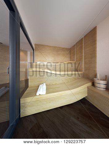 Architectural Interior of Modern Sauna with Wavy Wooden Recliner Seat Benches with Rolled White Towels for Guests. 3d Rendering.
