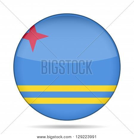 button with national flag of Aruba and shadow