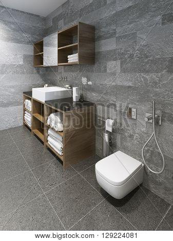 Spacious minimalist bathroom interior design. 3D render