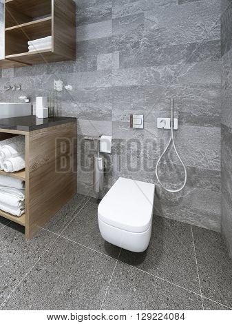 Wall-mounted toilet in modern bathroom. 3D render