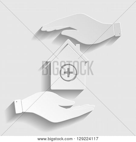 Hospital  sign. Save or protect symbol by hands. Paper style icon with shadow on gray.