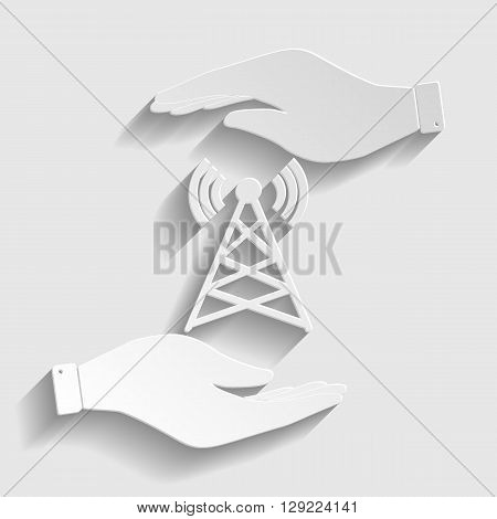 Antenna sign. Save or protect symbol by hands. Paper style icon with shadow on gray.
