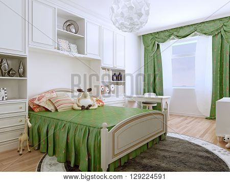 Bedroom art deco style. The children's bedroom with it light and airy outlook are furnished with easy-care and practical finishes. 3D render