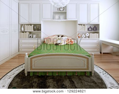 Classic bedchamber trend. The combination of bright colors. Green bed standing on a round carpet brown. Light wood parquet. White furniture and luxurious unusual chandelier. 3D render
