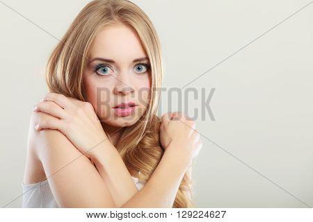 Shy Girl, Afraid Woman On Gray