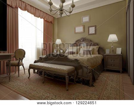 Vintage classic bedroom interior design. 3D render