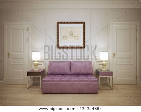 Hall with molded wall panels trend. 3D render