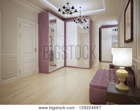 Spacious entrance art nouveau design. Modern without being stark interior of hallway with purple furniture and light wood flooring. 3D render