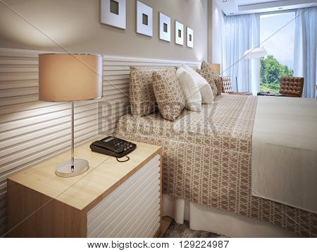 Contemporary bedroom design. Done bed with cushions wooden bedside table with phone and table lamp with brown shade. Wall decorated with white stripes like bedside table. 3D render
