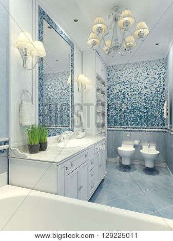 Bright bathroom classic style. Luxury chandelier mirror white furniture and built-in sink toilet and bidet. Marble floor tiles wall mosaic with light blue and dark-blue contrast colors. 3D render