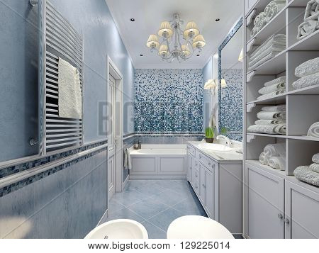 Spacious blue bathroom classic style. Bath toilet bidet white furniture great luxurious chandelier white ceiling. Mix of plaster and tile. 3D render
