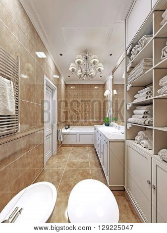 Elegant provence bathroom design. Long bathroom with wall tiles. Luxury chandelier and white multi-level ceiling. 3D render