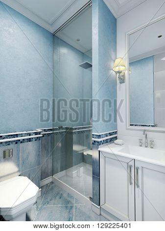 Bathroom art deco style. Design of bathroom with using blue color. White furniture and a large window with a frame a cozy little sconces. Plastered walls and blue marble floor tiles. 3D render