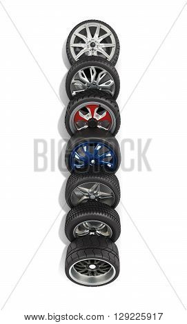 Wheels With Tires Car Standing In A Row Isolated On White 3D Render