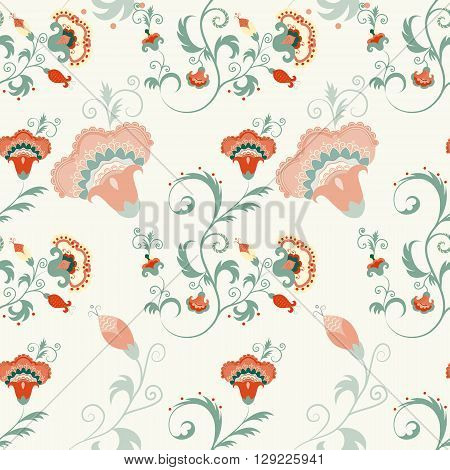 Traditional Asian seamless detailed vector pattern with flowers and leaves. Oriental floral background