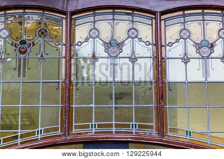 antique window of an old house in Leiden Netherlands