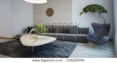 Minimalist design of sitting room. Wide fabric sofa with cushions egg chair and table gray wool carpet. 3D render