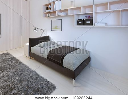 Teenagers bedroom in modern style. 3D render