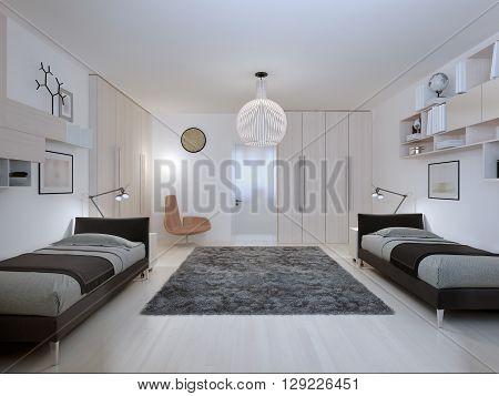 Teenagers bedroom in contemporary style. 3D render