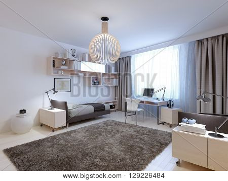 Idea of teenagers contemporary bedroom . 3D render