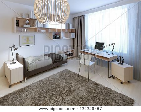 Bright bedroom trend. Large bright room with a huge woolen carpet in the center. 3D render