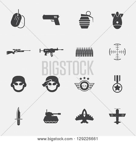 war and soldier icon set. Vector Illustrations.