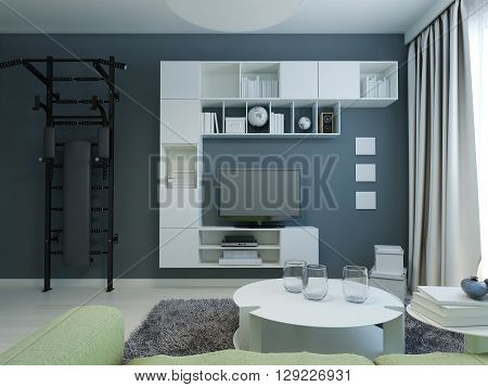 Teen lounge with navy walls modern style. 3D render