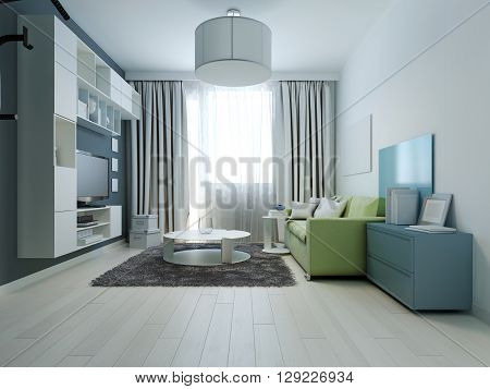 Design of bright colored living room kitsch style. Room with wall furniture. Parquet made of light wood is perfect for white walls and contrasts with a wall of navy color. 3D render