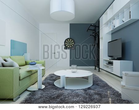 Design of contemporary teenagers louge. Interior room with white furniture and bright green sofa. The walls are white and dark blue. 3D render