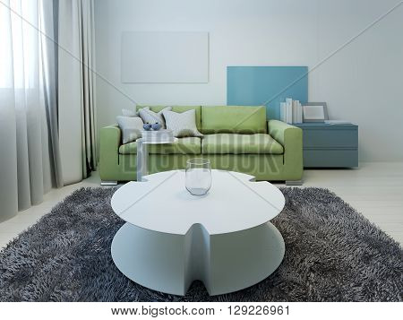 Kitsch styled lounge with white walls. 3D render