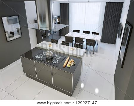 Techno black and white kitchen interior with white flooring. 3D render