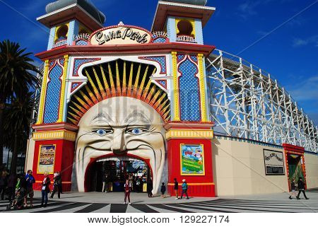 MELBOURNE, AUSTRALIA, MAY 24: The iconic entry featuring a clown's face of the Luna Park in St Kilda, Melbourne, on May 24, 2014
