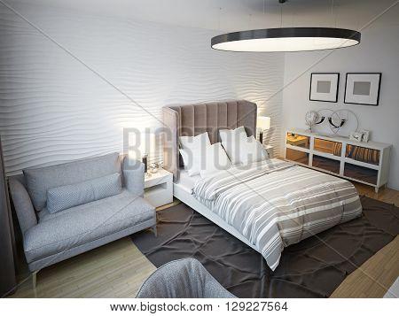 Spacious contemporary bedroom interior design. 3D render