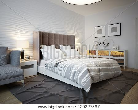 View of designed bed in contemporary bedroom. 3D render