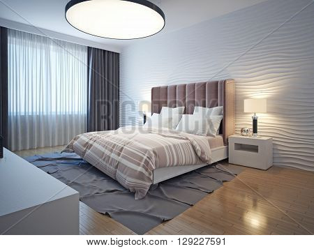 Light tones modern bedroom interior. Bedroom with brown wood flooring bedside table and a gray carpet. Wavy plaster walls. 3D render
