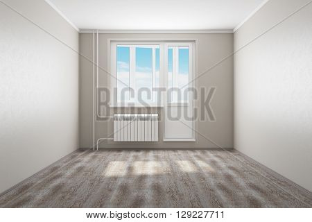 3D rendering of empty living room in an apartment. 