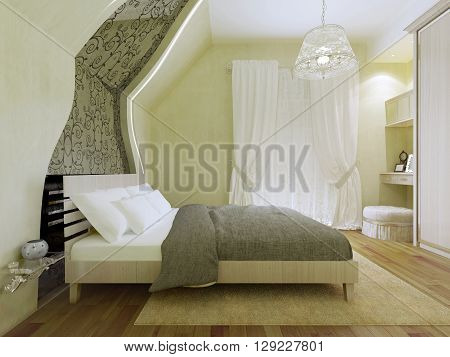 Bedroom with patterned mirror along the inclined wall. Comfortable double bed with a decorative wooden headboard with white pillows and white blanket of dark olive. 3D render
