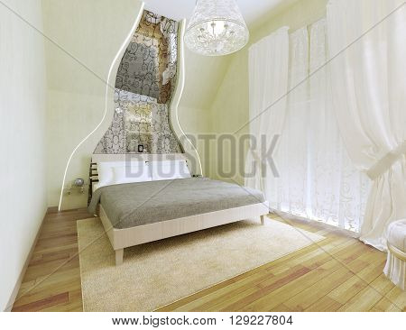 Art deco styled bedroom with light olive walls. Spacious room with a mirror patterned along the inclined wall. Tulle and white curtains and a balcony behind. 3D render