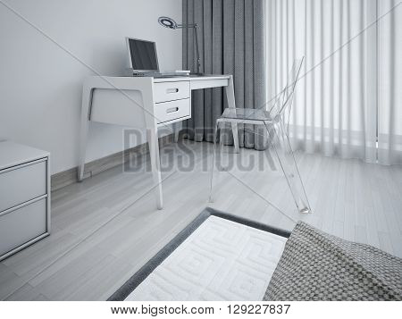 Working area in minimalist bedroom. Stylish workplace in the bedroom near the window. Transparent designer chair and a table of gray. 3D render