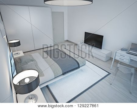 Light grey bedroom minimalist design. 3D render