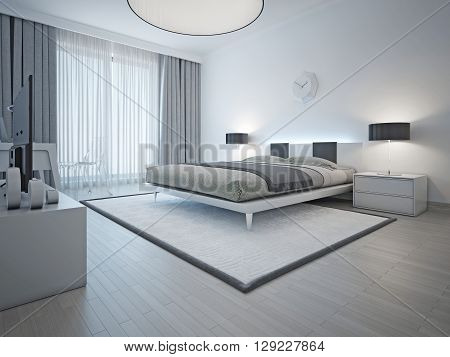 Spacious contemporary styled bedroom with double bed white carpet and light grey walls and furniture. 3D render