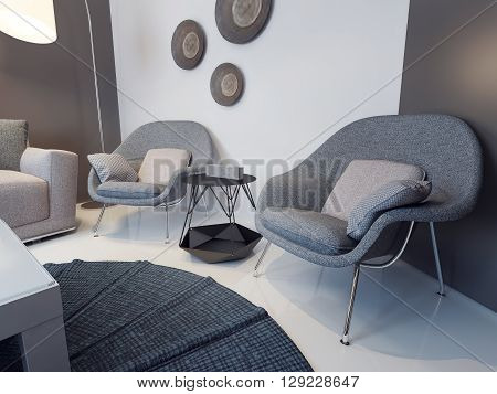Modern living room interior. Soft armchairs with cushions near a metal coffee table in front of white and brown walls. 3D render
