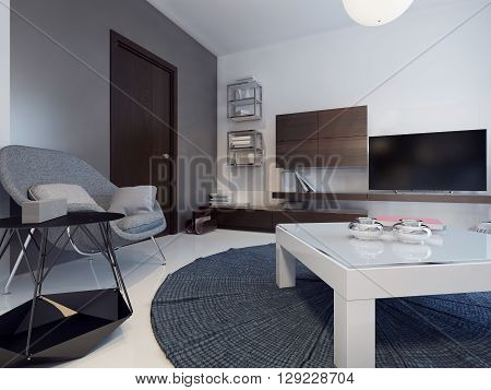 Idea of living contemporary room. Tho colored walls and polished concrete flooring. Cabinet furniture for the living room. 3D render