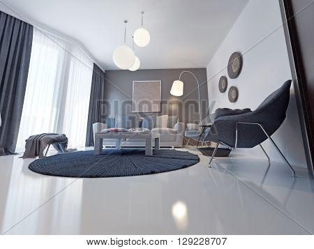 Sofa of tissue in a modern living room. 3D render