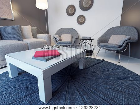 Idea of minimalist lounge with soft furniture. 3D render
