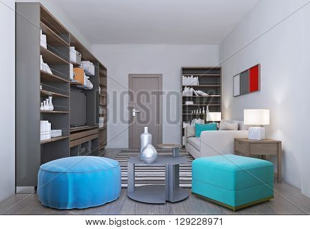Cozy living room in relax colors. Spacious room with a nice coffee table with colorful ottomans and bookcases. 3D render
