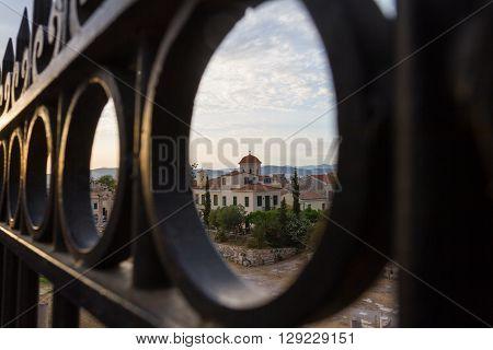 View Through Gate Of Church Behind Roman Agora In Athens, Greece