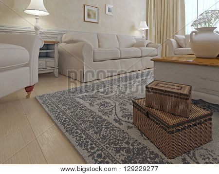 Living room shabby-chic style. Bright Living room with cream sofa armchair combination. 3D render