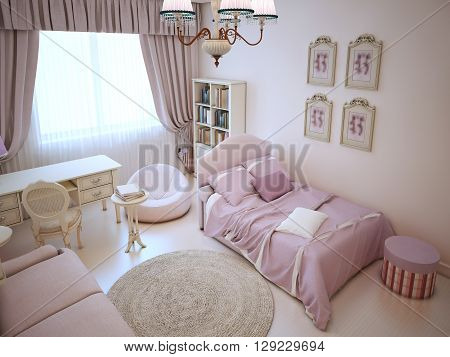 Cute girl bedroom with soft furniture in pink colors. Interior with using of bed sofa ottoman and frameless armchair. 3D render