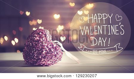 Happy Valentines Day Message With Pink Heart